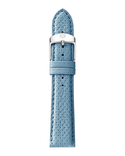 20mm Perforated Leather Strap, Light Blue