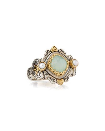 Sea Blue Agate & Pearl Ring