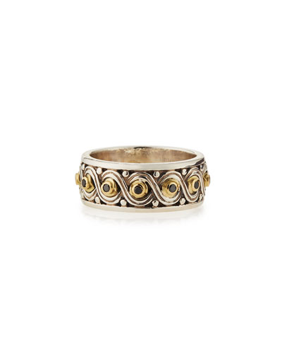 Silver & 18k Gold Black Diamond Band Ring