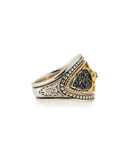 Silver & 18k Black Diamond Ring