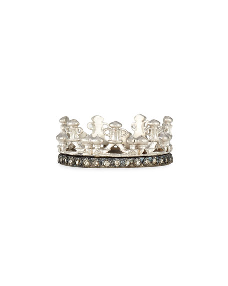 Armenta Scalloped Half Crown Silver Ring