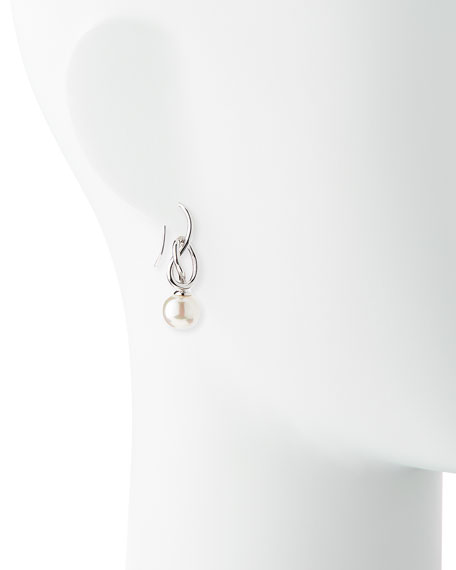Image 2 of 2: Pearl-Drop Silver Knot Earrings