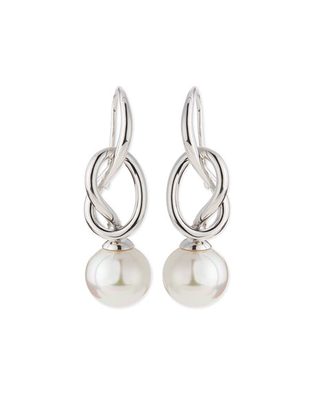 Image 1 of 2: Pearl-Drop Silver Knot Earrings