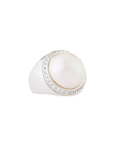 Round Pearl & Cubic Zirconia Silver Ring