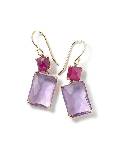 18k Gold Rock Candy Rectangle Ruby & Amethyst Earrings