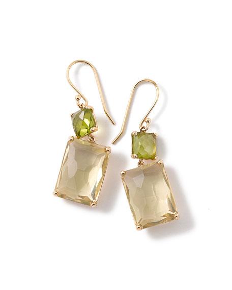 Ippolita 18k Gold Rock Candy Rectangle-Cut Peridot & Lemon Citrine Earrings