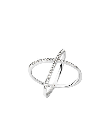Pave Crystal X Ring