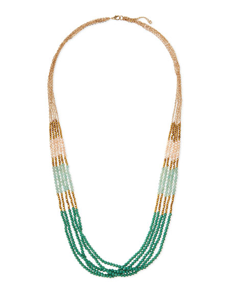 Multi-Strand Beaded Necklace, Mint
