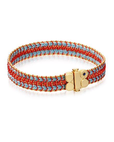 Astley Clarke Biography Wide Woven Bracelet, Coral Reef