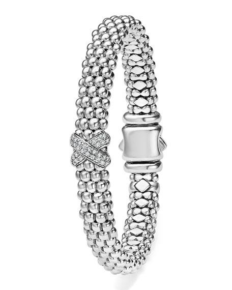 Silver Caviar Bracelet with Diamond X