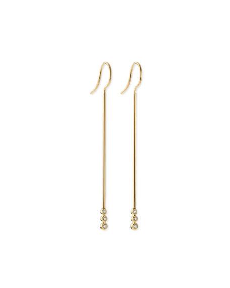 Mizuki 14k Gold Three-Diamond Bar Earrings