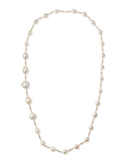 "14k Gold Pearl Station Necklace, 30""L"