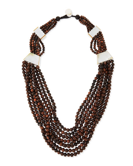 Tiger Wood Multi-Strand Statement Necklace