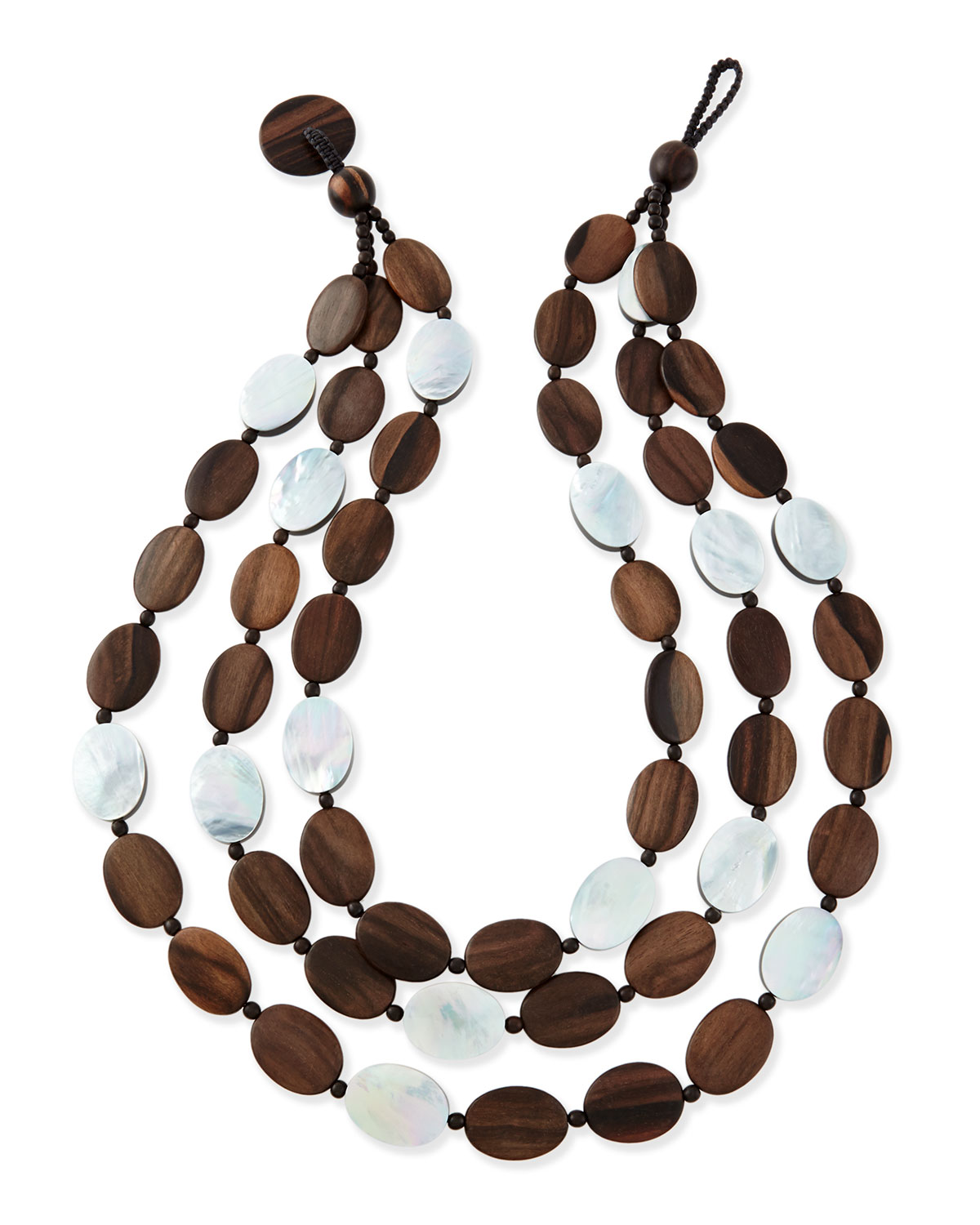 76f8b7633783a Tiger Wood & Mother-of-Pearl Triple Strand Necklace