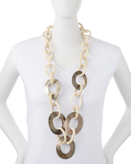 Wood & Mother-of-Pearl Link Necklace