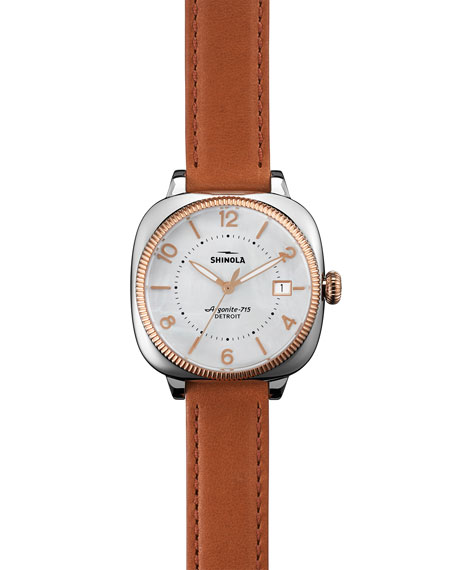 Shinola 36mm Gomelsky Leather-Strap Watch, Orchid