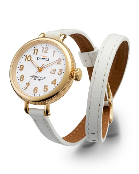 Shinola 34mm Birdy Golden Double-Wrap Watch, White