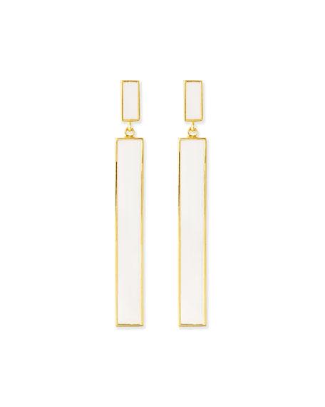 NEST Jewelry White Enamel Gold-Plate Drop Earrings