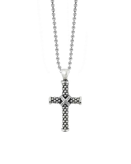 Lagos Signature Caviar Beaded Cross Pendant Necklace