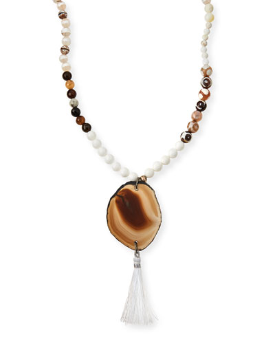 Mixed Bead Agate Tassel Necklace, Ivory