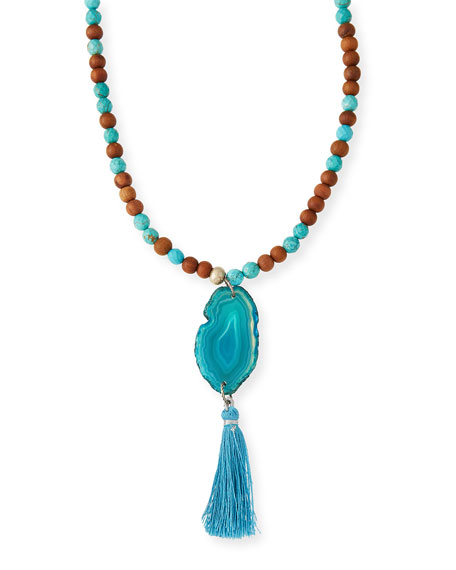 Lead Turquoise & Sandalwood Tassel Necklace