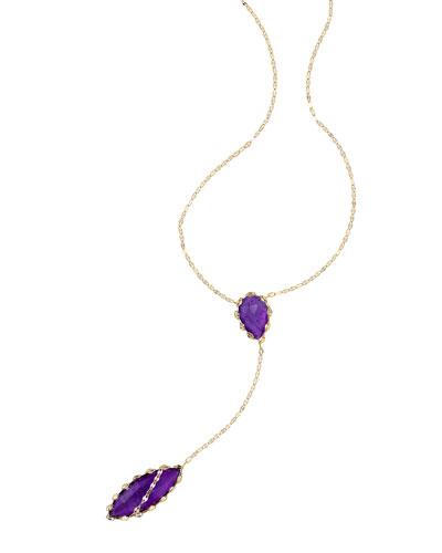 Riviera 14k Amethyst Lariat Necklace