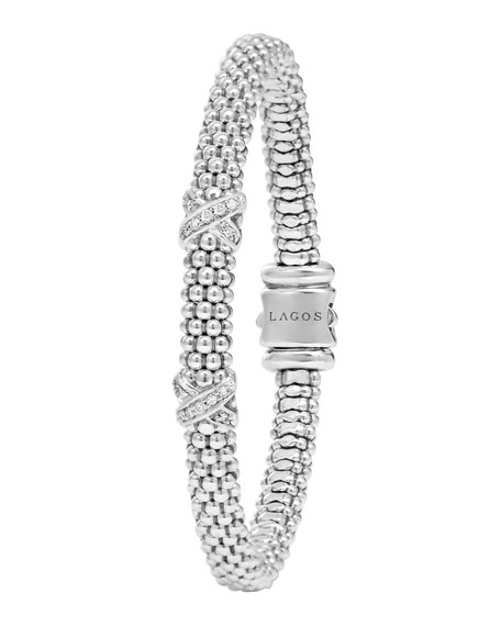 Diamond Double-X Station Bracelet