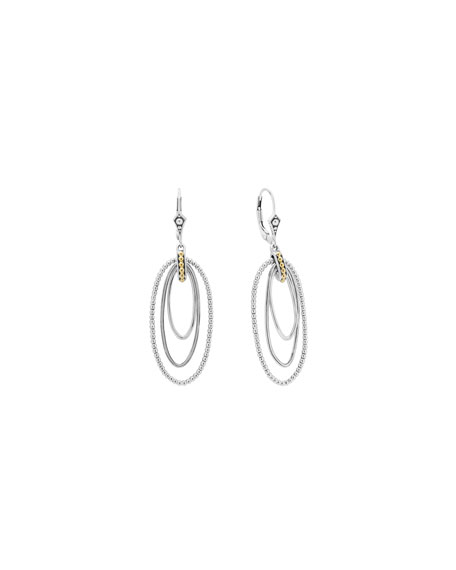 Caviar Three-Loop Drop Earrings