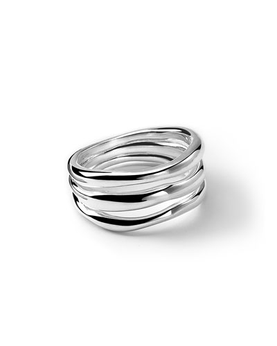 Sterling Silver Glamazon Triple-Band Squiggle Ring