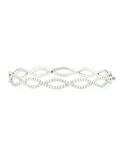 Infinity Double-Row Diamond Bangle, White Gold