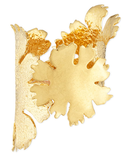 Alexander McQueen Lotus Flower Golden Cuff Bracelet