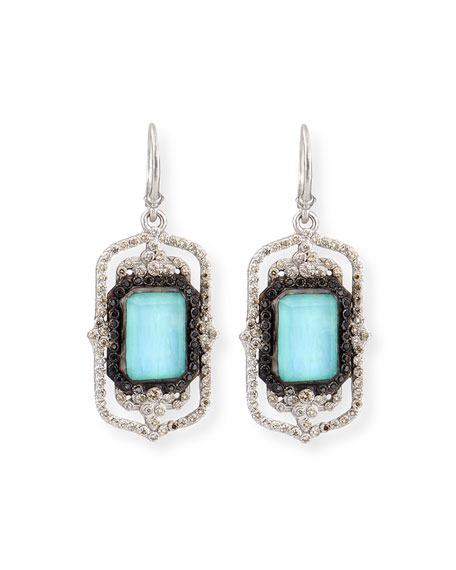 Armenta Turquoise Rectangle Scroll Diamond Earrings