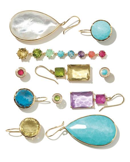 18k Gold Lollipop Drop Earrings, Turquoise
