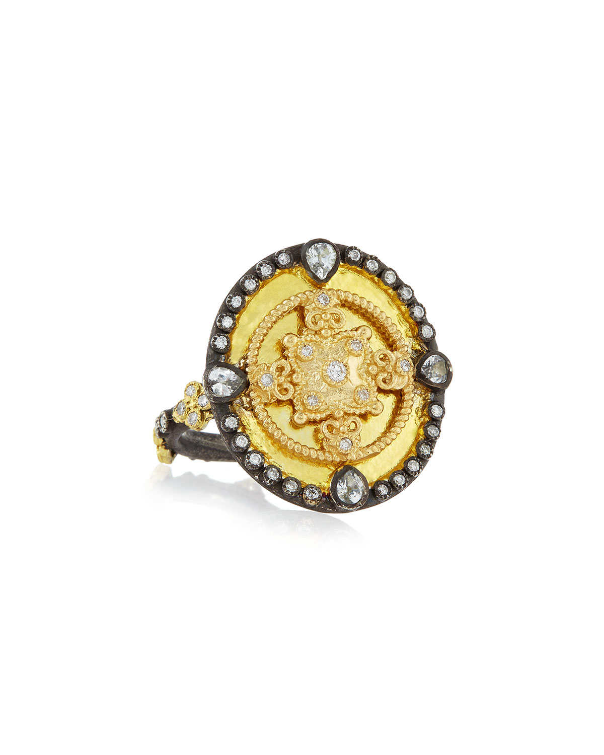 Armenta OId World Heraldry Oval Shield Ring, Size 5-8