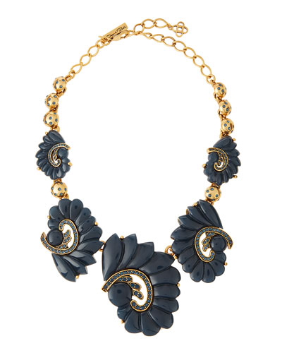 Resin Swirl & Crystal Necklace, Navy