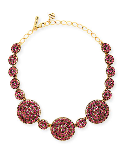 Crystal Disc Statement Necklace, Pink