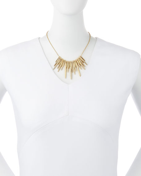 Alexis Bittar Golden Crystal Spike Bib Necklace