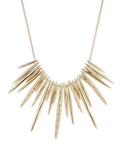 Golden Crystal Spike Bib Necklace