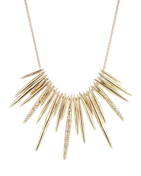 Golden Crystal Spike Bib Necklace