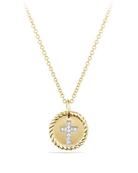 David Yurman Cross Necklace with Diamonds in 18k