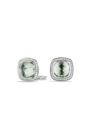 David Yurman 11mm Albion Prasiolite Stud Earrings with Diamonds