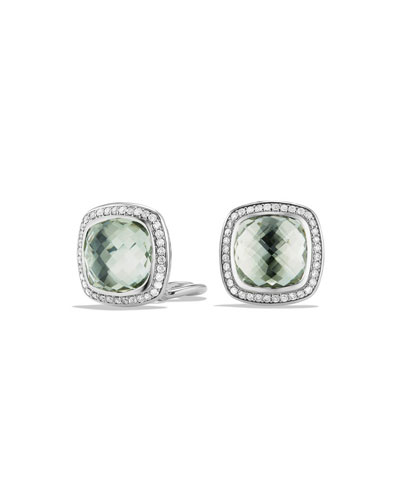 11mm Albion Prasiolite Stud Earrings with Diamonds