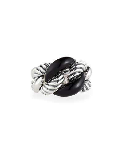 Belmont Curb Link Ring with Black Onyx