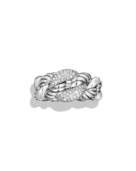 Belmont Curb Link Ring with Diamonds