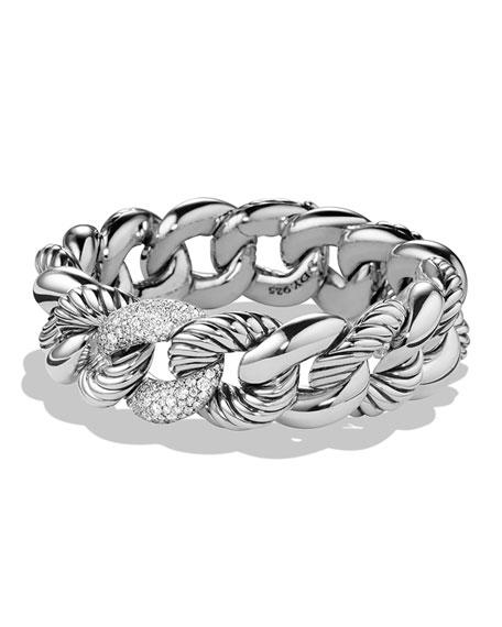 David Yurman Belmont Curb Link Bracelet with Diamonds, 18mm