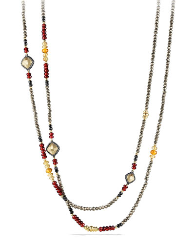 Chatelaine Necklace with Garnet, Citrine, Pyrite and Gold
