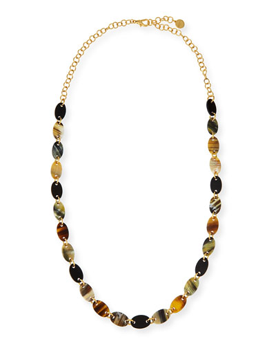 Mixed Dark Horn Station Necklace