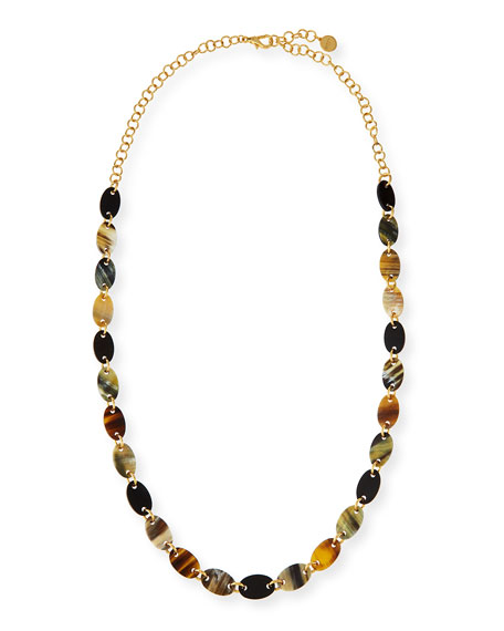 NEST Jewelry Mixed Dark Horn Station Necklace