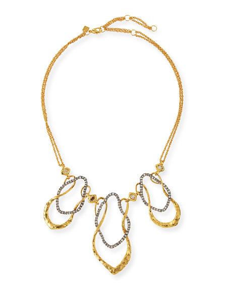 Alexis Bittar Crystal Wavy Link Bib Necklace