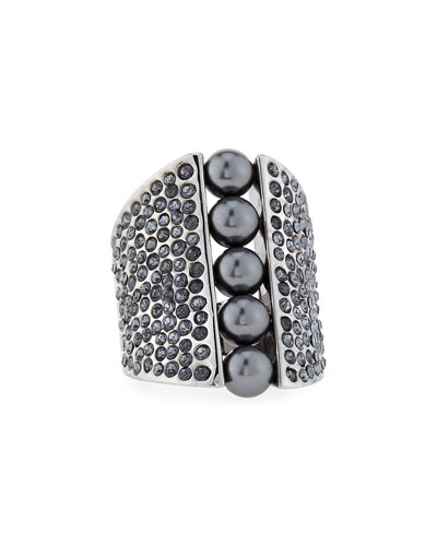 Signature Pearly & Crystal Cocktail Ring